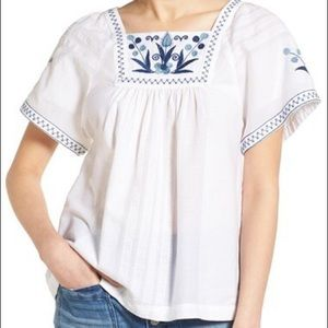 Madewell embroidered peasant top XS